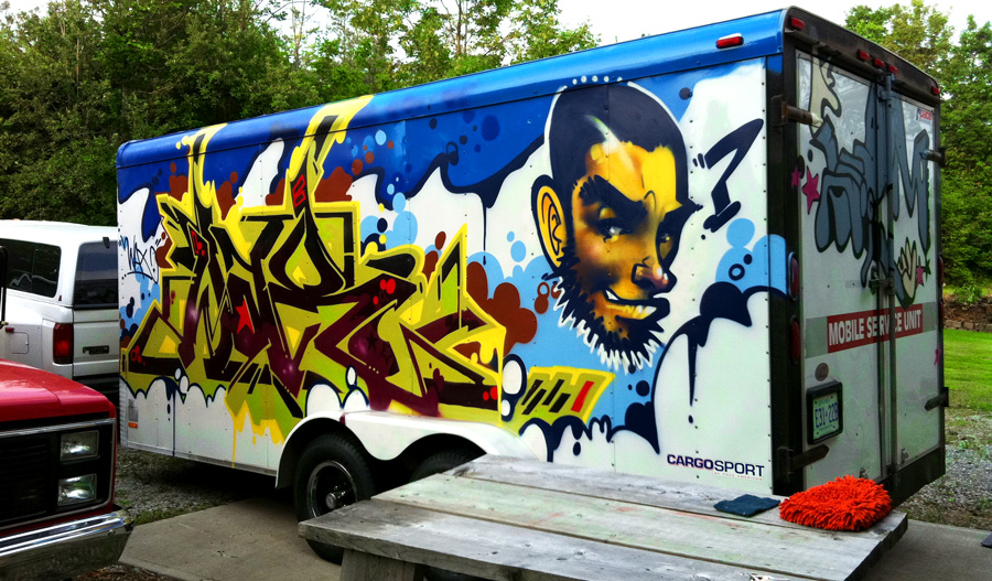 Artwork by Artchildfor Toronto Graffiti on a 16ft trailer