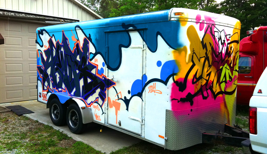 Artwork by Artchild & Hemps for Toronto Graffiti on a 16ft trailer